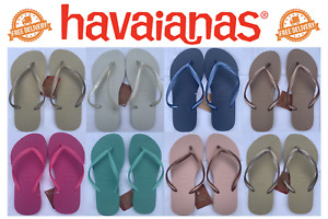 Brand New Genuine Slim Havaianas Summer Beach Flip Flops 8 Colours Sizes Uk 4-8