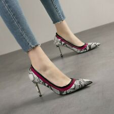 Womens Fashion Sexy Pointed To Printed High Heel Slip On Court Shoes Pumps SKGB