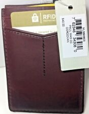 Fossil Paul Leather Wallet Card Case Magnetic Clip Front Pocket Cordovan  RFID