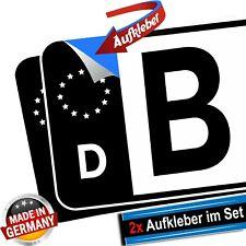2x Kennzeichen Aufkleber EU Feld schwarz Tuning hochwertig Nummernschild Sticker