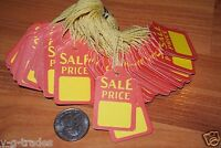 NEW LOT 500 SALE RED YELLOW Print 1X2 Paper Merchandise Price Tags with String