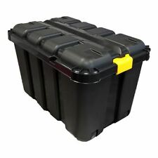 145L HEAVY DUTY BLACK PLASTIC DIY TRUNK STORAGE TOOL BOX COMPLETE WITH V GROOVE