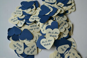 NAVY BLUE personalised TABLE CONFETTI with NAMES DATE message for any occasion