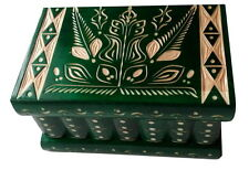 Wizard jewelry puzzle magic box new green handcarved wooden brain teaser gift