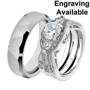 His & Hers Stainless Steel Round CZ Wedding Ring Sets Tungsten Men Band HB