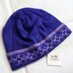 NWT COACH Winter Mini Signature Beanie Hat Merino Wool Purple 80727 NEW