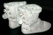 Justice Boots Gray With Pom Poms Kids Size 8