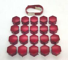 SKODA FABIA OCTAVIA SUPERB YETI RED WHEEL NUT BOLT COVERS CAPS 17mm x 20