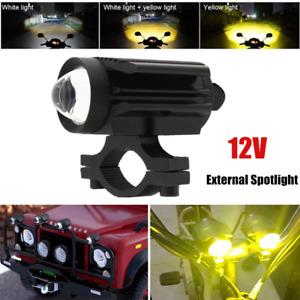 1×Motorcycle Car External LED Headlight Spotlight U7 Lens White+Amber Universal