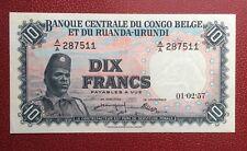 Congo Belge - Belgique - Magnifique Billet de 10 Francs du 01-02-1957