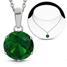 Edelstahl Träne Drop Halskette mit Smaragdgrüne Cubic Zirkonia