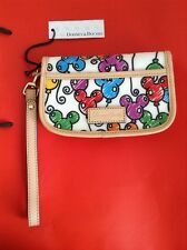 New Disney Dooney Bourke Balloons Mickey Mouse White/Multi Wristlet Bag-Rare!