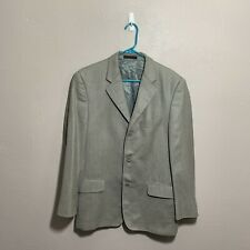 Christian Dior Mens Jacket 50 L 3 Button Silk Wool Sport Coat Blazer Herringbone
