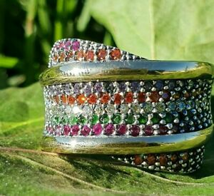 Best gifts for women  Sterling Silver and 9K Gold Ring with multicolor CZ