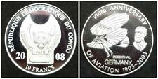 100th Anniversary Of Aviation Silver 10 Francs 2008 Congo proof coin