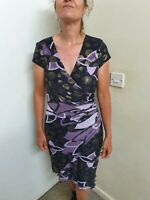 Joseph ribkoff Wrap Style Dress purple/black/gold abstract print Size 10