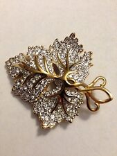 Swarovski Clear Crystal & Gold Leaf Pin Brooch Signed - BEAUTIFUL! - New