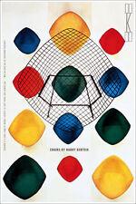 "Mid Century Knoll Harry Bertoia Chairs Art Print Poster 16"" x 24"""