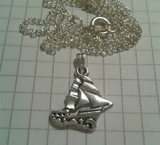 """TIBETAN SILVER PENDAN """"SAILING BOAT D/SIDE """" ON 18""""CHAIN NECKLACE OR WAX CORD+ex"""