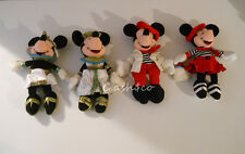 Globe Trotting Mickey & Minnie Mouse plush bean bags Lot of 4 French &  Egypyian