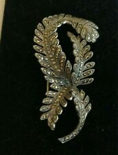 Antique/Vintage  sterling silver and marcasite fern brooch - 15 gms