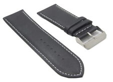 28mm Italian Genuine Leather Italy Black Smooth White Stitch Watch Band Strap