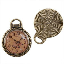 10pcs Antique Bronze Carved Clock Charms Round Alloy Pendant Fit Jewelry 144663