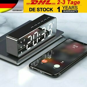LED Wecker Digital Alarmwecker Funk Uhr Kalender Schlummerfunktion USB MP3 DHL