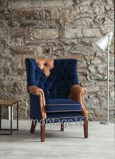 Berwick Leather Velvet Fabric Wingback Chair Armchair High Chair