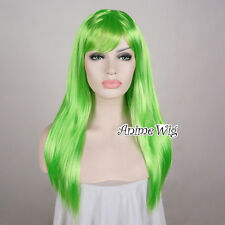 60CM Women's Fashion Long Grass Green Straight Fancy Dress Cosplay Party Wig