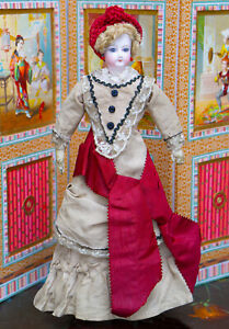 "12 1/2"" Antique French Fashion Gaultier Doll in Original Dress, c.1875"