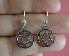 925 Sterling Silver Circle Religious Star of David Dangle Earrings Jewelry