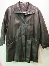WOMENS PELLE  BLACK LEATHER  COAT size Large  Ladies 100% leather outer shell