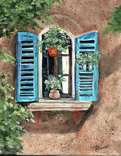 French Style window with pretty plants 8 x 10 print of original acrylic painting