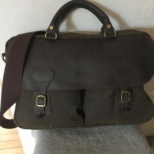 Barbour Wax Cotton Leather Laptop Satchel Messenger Uni Shoulder Bag