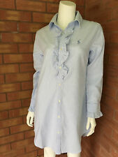 RALPH LAUREN BLUE & WHITE STRIPE OXFORD RUFFLE NIGHTSHIRT SIZE S (UK 10-12) BNWT