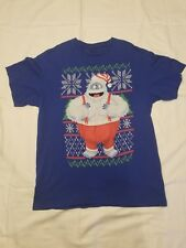 Rudolph Reindeer mens large shirt blue Abominable Snowman Christmas t-shirt