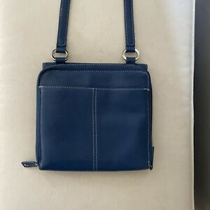 Tignanello Leather Handbag Purse Crossbody Bag Organizer Pebbled Blue Small