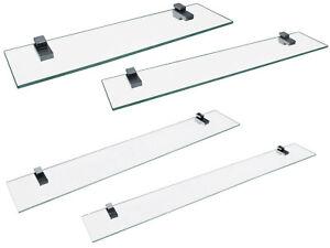 Fackelmann Glasablage für Badschrank 40/60/80/100 cm - 2 Halter für Wandmontage