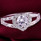 Silver plated Crystal rhinestone Love Heart Ring Bridal Wedding Party size 8 one