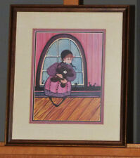 Patricia P. Buckley Moss Amish Girl with Teddy Bear Lim. Ed. Lithograph Signed