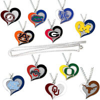 swirl heart necklace charm pendant NCAA PICK YOUR TEAM