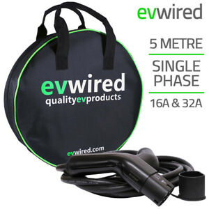 EV Wired - EV Charging Cable | Single Phase | 5m | 16 & 32Amp | Type 2 to Type 2