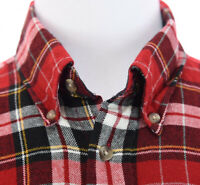 Towncraft Mens Acrylic Lightweight Flannel Button Down Shirt Red Christmas Sz L