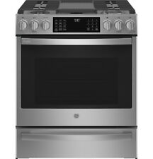 Ge Profile Pgs930Ypfs 30 Inch Slide-In Gas Range with Air Fry in Stainless Steel