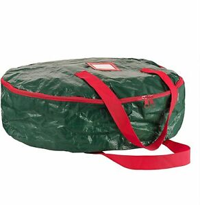 Water Resistant Christmas Wreath Storage Bag 24'' Green