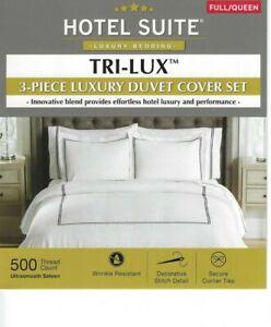 HOTEL SUITE TRI-LUX 3 pc luxury DUVET COVER SET 500 tc FULL / QUEEN white w navy