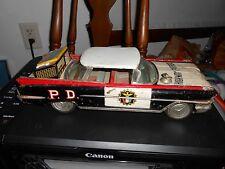 "Large 13"" Vintage Ichiko Tin Battery Operated Highway Patrol Car W/Speed Meter"