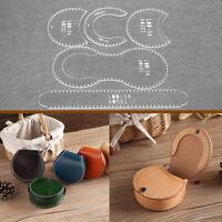 DIY Transparent Acrylic Leather Wallet Bag Pattern Stencil Template Tool Set b