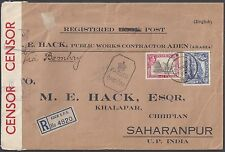 ADEN 1942 WAR TIME REGISTERED DOUBLE CENSORED COVER ADEN TO SAHARANPUR INDIA ATT